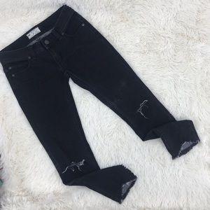 Free People Jeans Black Distressed Frayed Hem